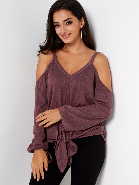 Burgundy Tie-up Design Plain Cold Shoulder Long Sleeves T-shirts