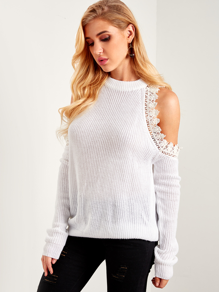 White Lace Trim Plain Cold Shoulder Long Sleeves Sweaters