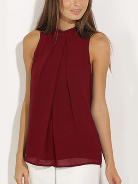 Burgundy High Neck Open Back Pleated Chiffon Tank Top