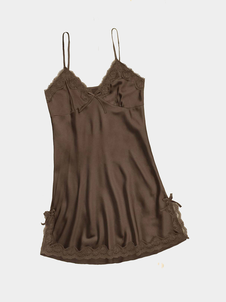 Coffee Satin V-neck Lace Hem Slip Pajamas