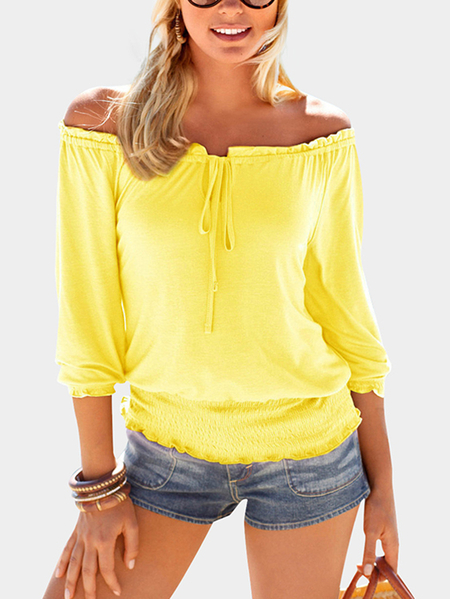 Yellow Elastic Strap Plain Off The Shoulder 3/4 Length Sleeves T-shirts