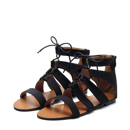 Black Leather Look Zipper Back Lace-up Peep Toe Caged Flat Sandals
