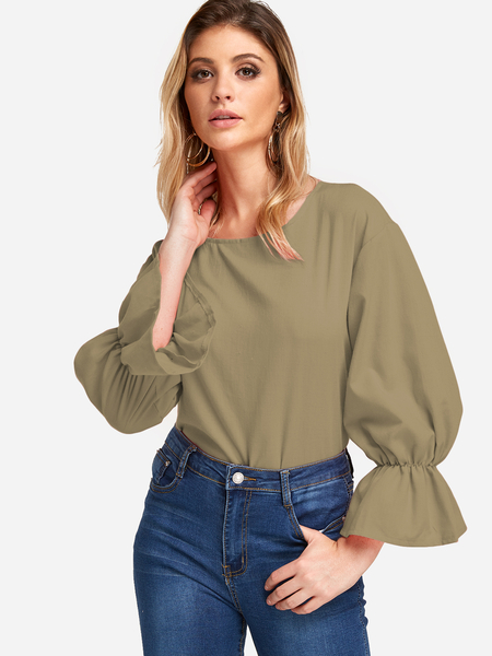 Army Green Flared Long Sleeves Fashion Girls Blouse