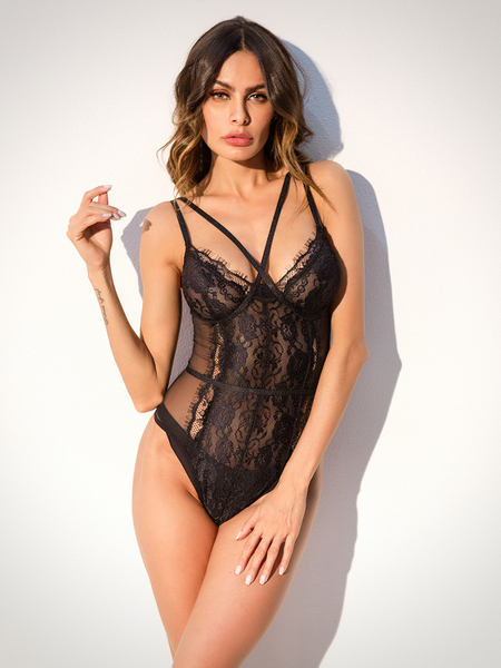Black Sexy See-through Eyelash Trim Lace Teddy