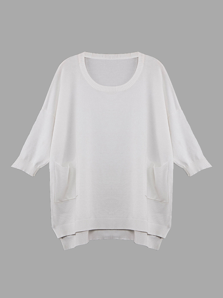 White 1/2 Sleeve Relaxed Knit Top with High Low Hem