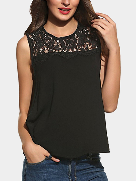 Black Casual Lace Insert Tank Top