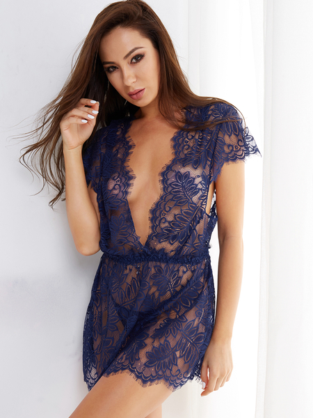 Royal Tease Deep V-neck Delicate Lace Eyelash Trim Pajamas with Thong