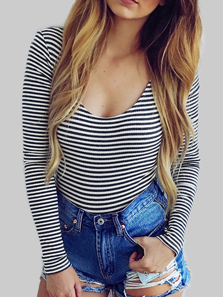 Black Stripe Scoop Neck Seft Tie Backless Bodysuits