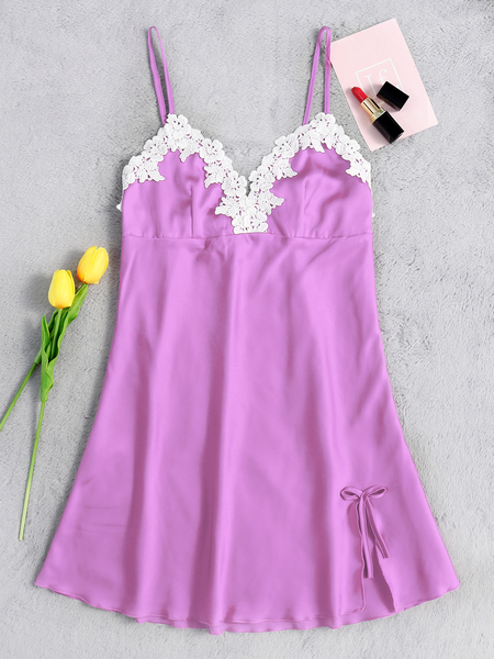 Sexy Chest Padded Push up Pajamas Dress in Purple