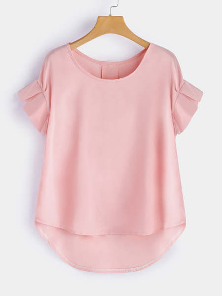 Pink Slit Design Plain Crew Neck Flounced Details Short Sleeves Top