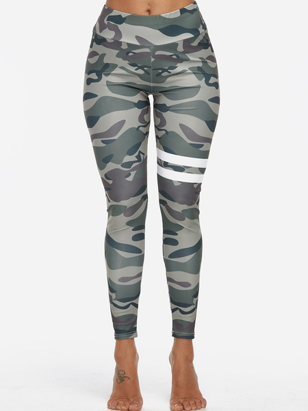 Army Green Camouflage Stretch Waistband Sports Pants