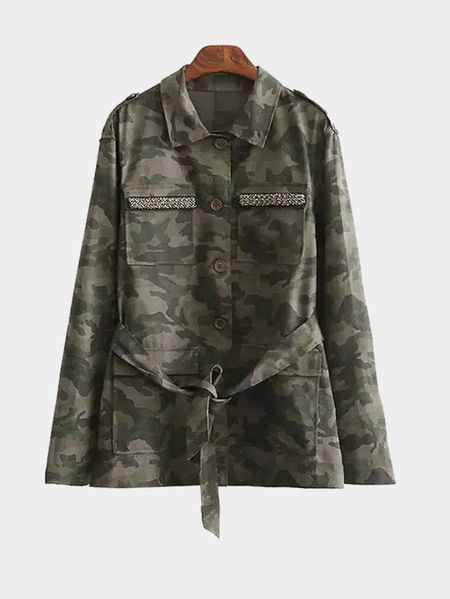 Camouflage Single Breasted Design Classic Collar Self-tie Waist Coat With Pockets