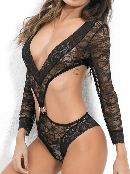 Black V-neck Long Sleeves Cut-out Design Lace Teddy