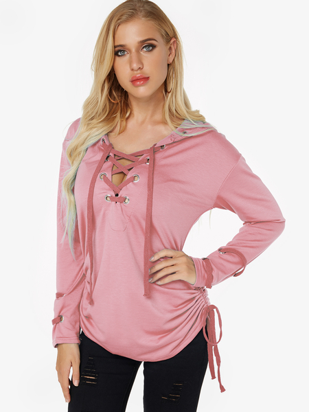 Pink Hooded Design Long Sleeve Lace-up Sweatshirt