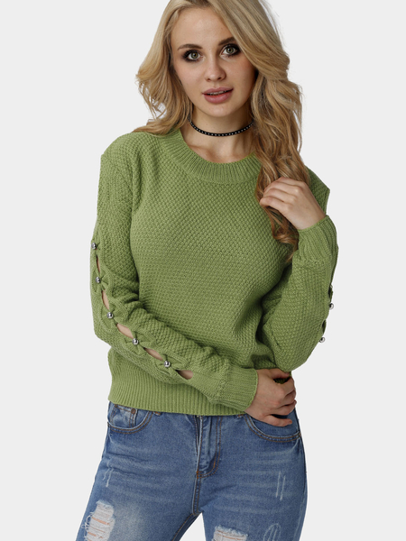 Pullover Plain Green Color Hollow Out Sleeves Detail Sweater
