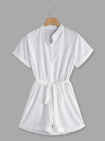 White V-neck Short Sleeves Self-tie Playsuits