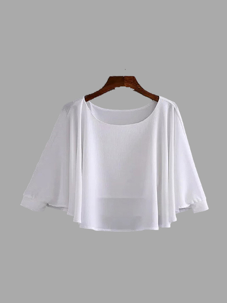 White Color Round Neck Long Sleeves Blouse