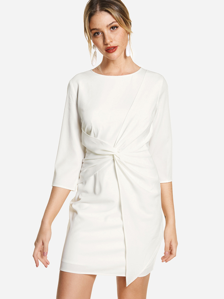 White Twist Front 3/4 Length Sleeves Dress