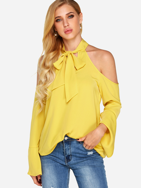 Yellow Cut Out Bowknot Plain Halter Long Sleeves Blouses
