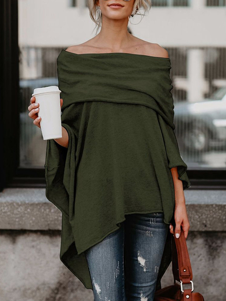 Army Green Flap Over Off The Shoulder Bat Sleeves Top
