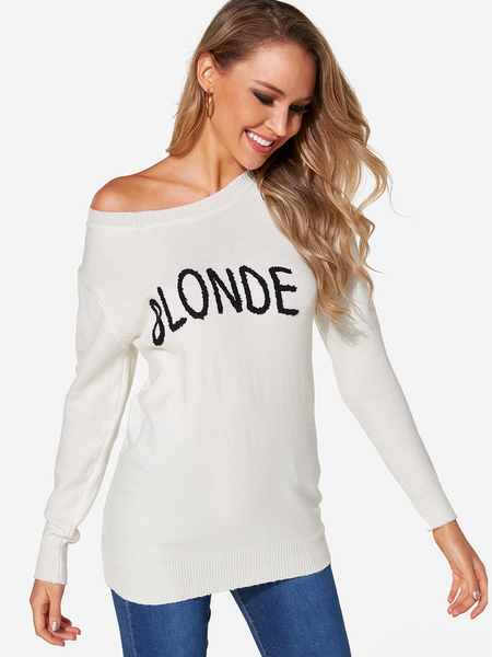 White Letter One Shoulder Long Sleeves Sweater