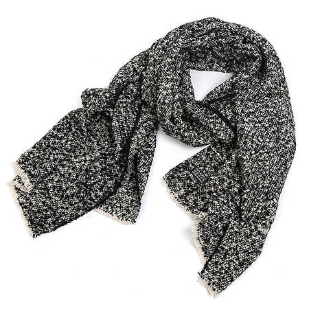 Black Oversized Scarf In Boucle Knit