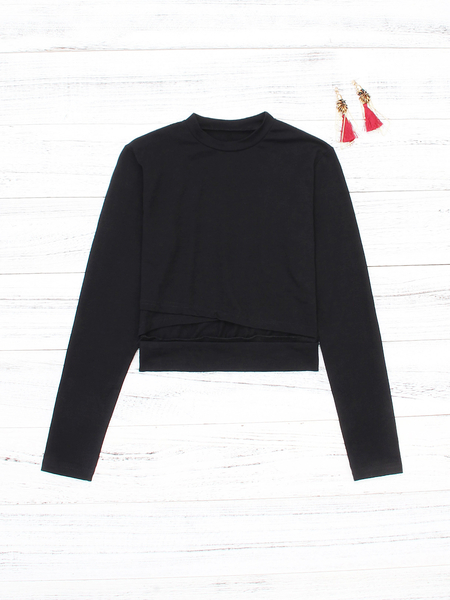 Black Cut Out Long Sleeve Crop Top