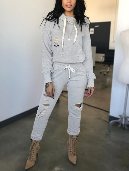 Light Grey Hooded Design Cut Out Detail Two Piece Outfits
