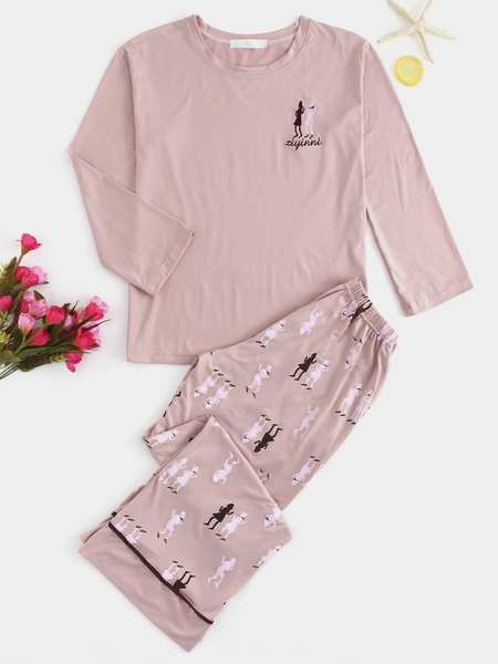 Pink Round Neck Cute Print Pajamas