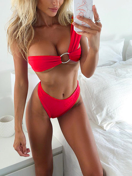 Red Asymmetrical High Waist Bikini Set