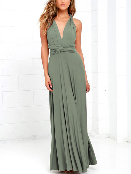 Gray-green Backless Criss-cross Deep V-neck Maxi Dress
