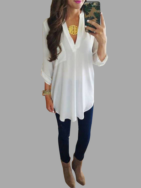 White V-neck Half Sleeves Curved Hem Shirt