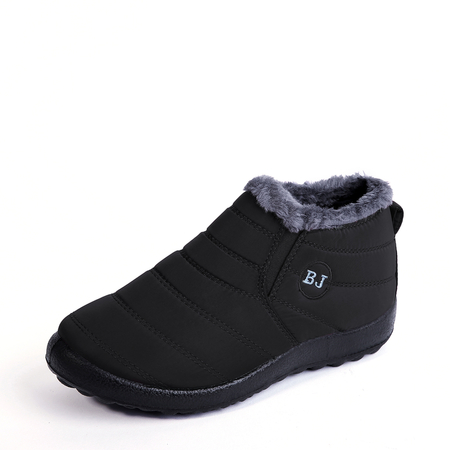 Black Warm Fur Lined Waterproof Boots