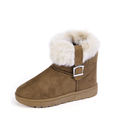 Brown Suede Fur-Lined Buckle Snow Boots