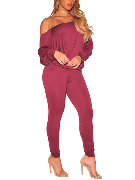 Burgundy Sexy Off-The-Shoulder Basic Two Piece Outfits