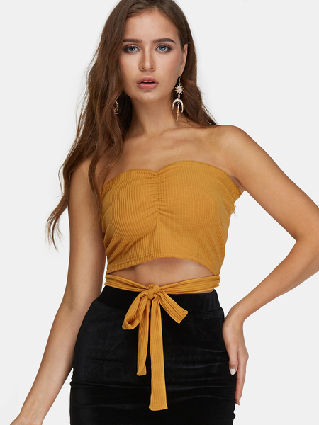 Yellow Lace-up Design Strapless Sleeveless Crop Top