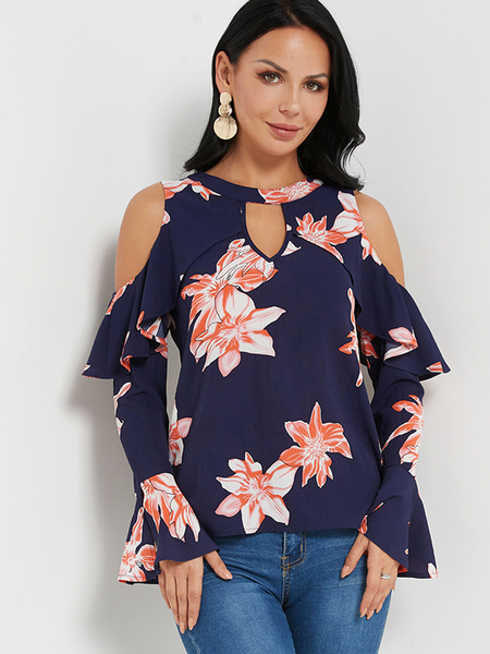 Navy Floral Print Round Neck Cutout Keyhole Front Cold Shoulder Ruffle Blouses