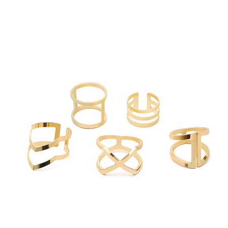 Gold Hollow Detail Layed Ring Set