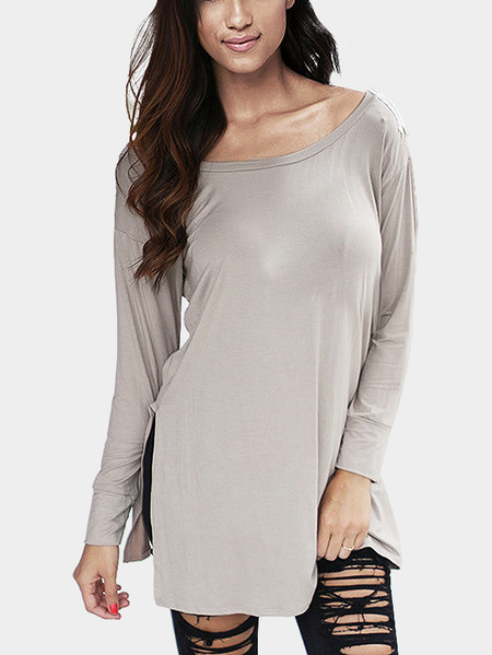 Grey V Pattern Back Lace Insert Hollow Out Staple Tees