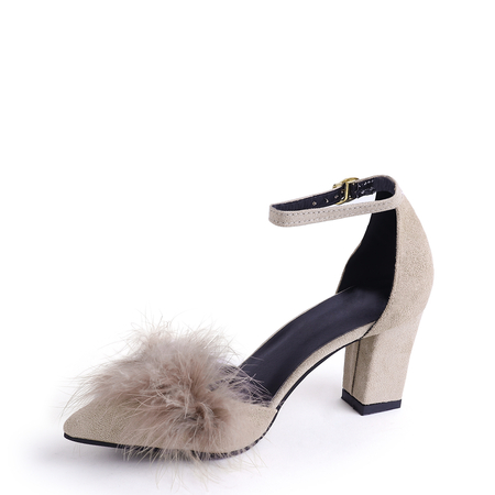 Khaki Faux Fur Decor Chunky Heels