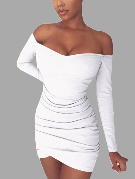 White Off-The-Shoulder Sexy Mini Dress