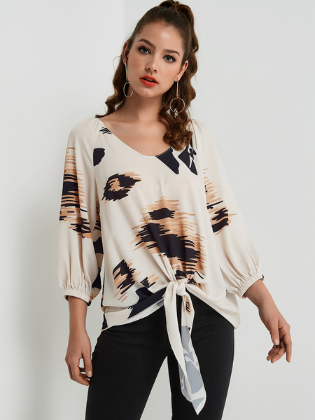 Khaki Tie-up Print Top