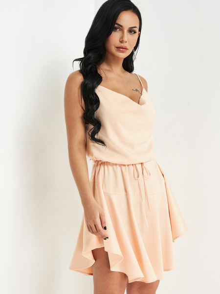 Beige Spaghetti Strap Drawstring Waist Dress