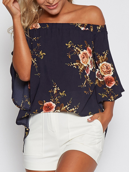 Random Floral Print Off Shoulder Slit Blouse