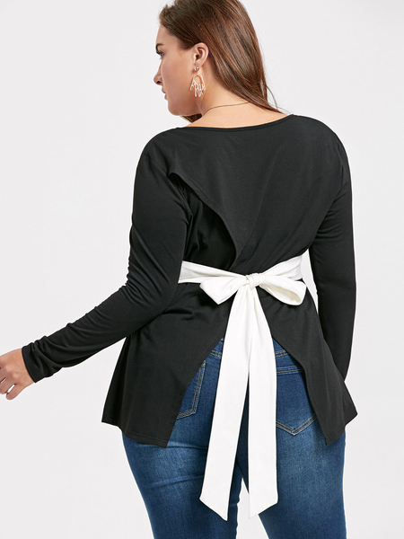 Plus Size Black Front Tie Slit Hem Blouse