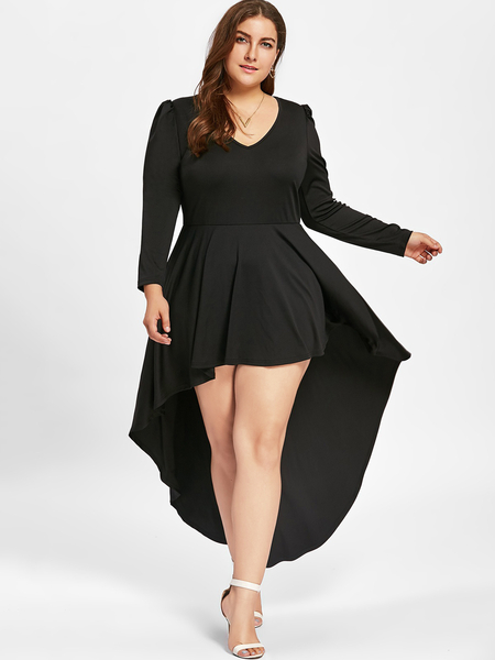 Plus Size Black Irregular Hem Cocktail Dress