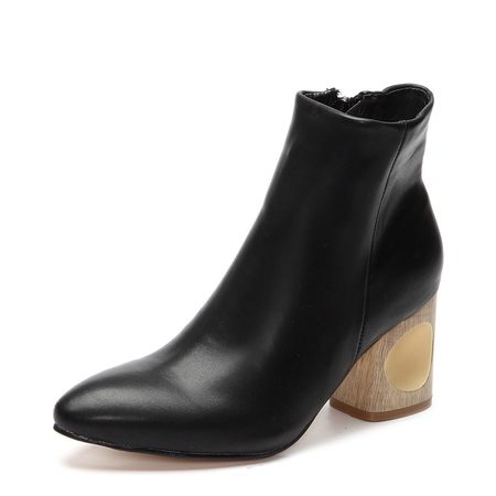 Black Hollow Chunky Heels Short Boots with Side Zipper