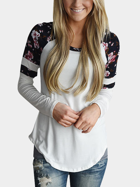 White Round Neck Floral Print T-shirt