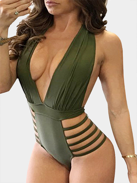 Army Green Sexy Cut Out Backless One Piece Bikinis