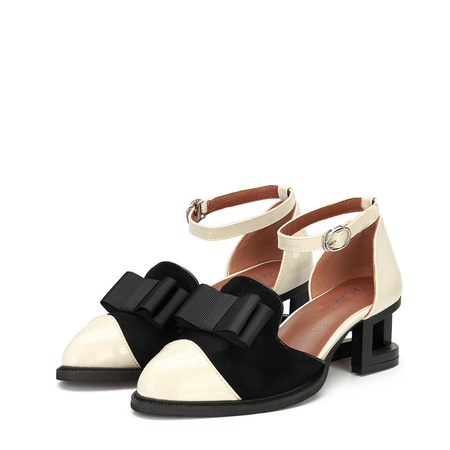 Apricot Leather and Suede Look Ankle Strap Hollow Heel Bowknot Shoes